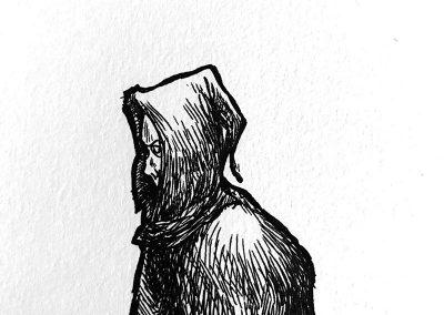 Cloaked stranger, pen study