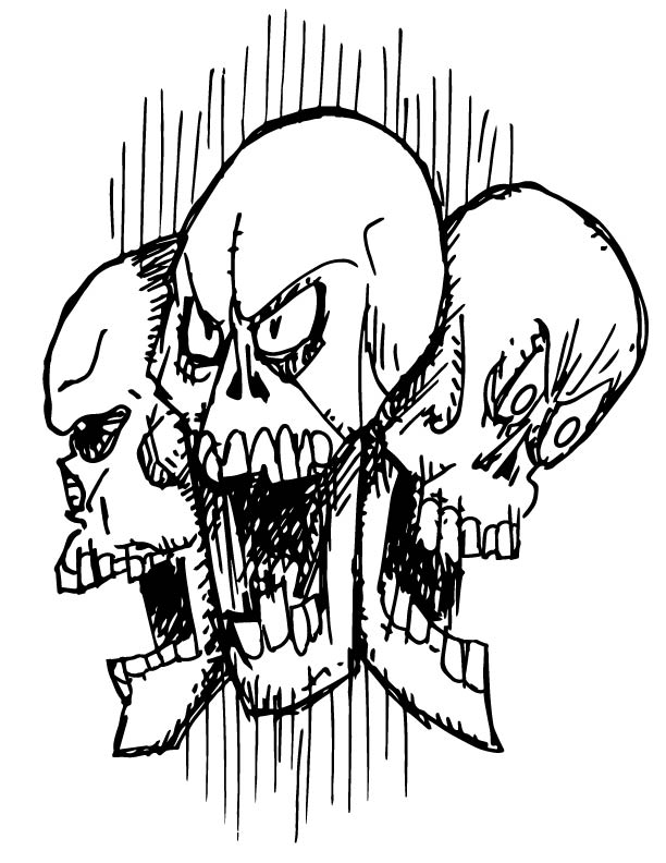Zombie Coloring Book triplet skulls