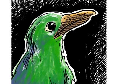 Green bird, digital